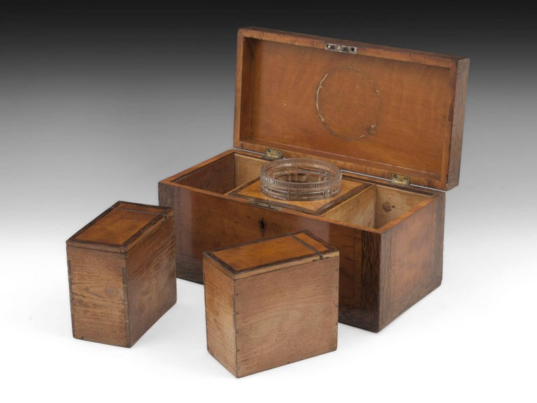 Georgian Satinwood Tea Chest with Glass Tea Caddy Bowl, 19th Century For Sale 2