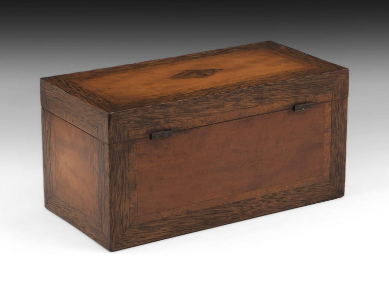 British Georgian Satinwood Tea Chest with Glass Tea Caddy Bowl, 19th Century For Sale