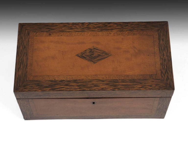 George IV Georgian Satinwood Tea Chest with Glass Tea Caddy Bowl, 19th Century For Sale