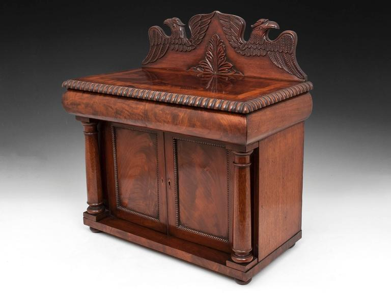 Victorian Antique Mahogany American Eagle Irish Miniature Chiffonier For Sale