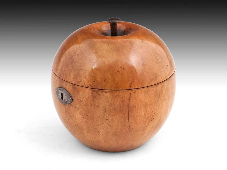 German George III Fruitwood Apple Tea Caddy For Sale