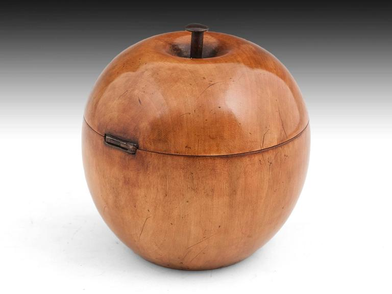 19th Century George III Fruitwood Apple Tea Caddy For Sale