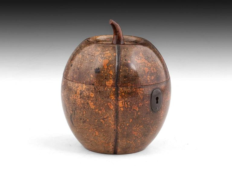 Georgian Antique Melon Fruitwood Tea Caddy For Sale