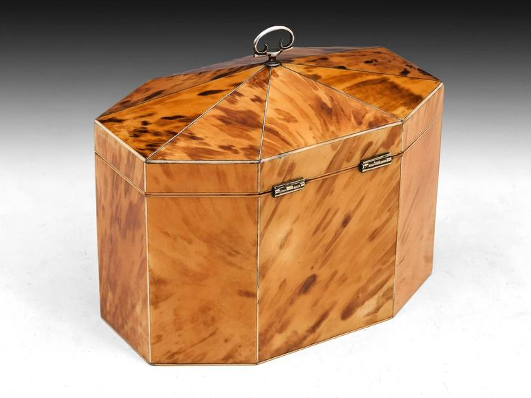 Georgian Blonde Tortoiseshell Tea Caddy In Excellent Condition For Sale In Northampton, United Kingdom