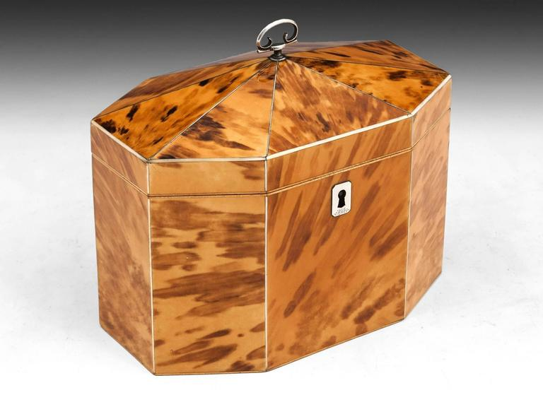 British Georgian Blonde Tortoiseshell Tea Caddy For Sale