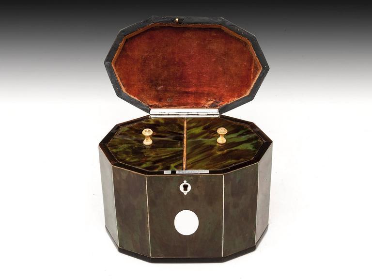 Silver Green Tortoiseshell Tea Caddy For Sale