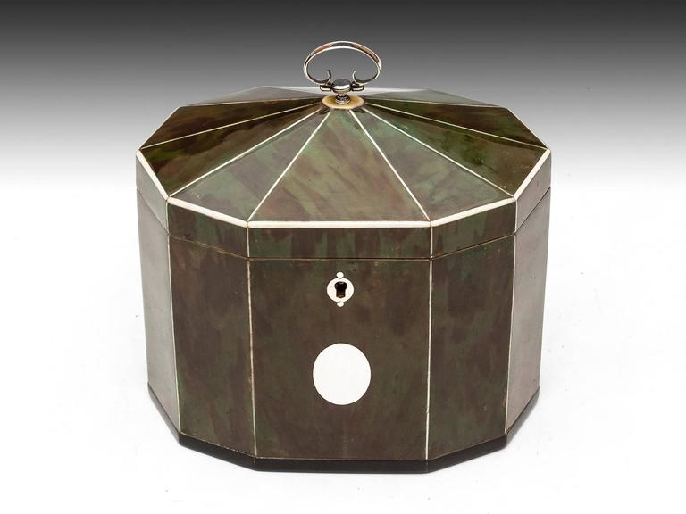British Green Tortoiseshell Tea Caddy For Sale