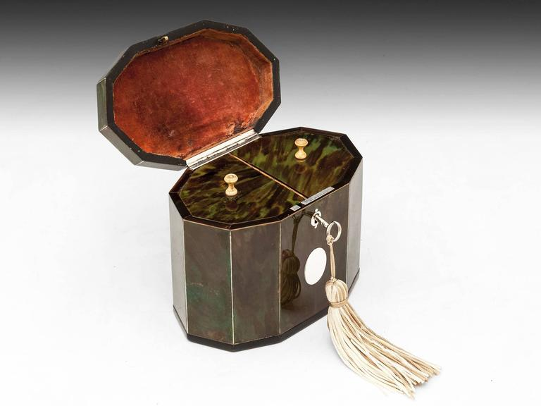 Green Tortoiseshell Tea Caddy For Sale 3