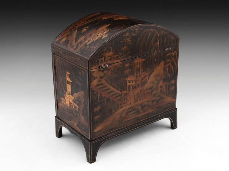 antique 19th century japanned chinoiserie sewing cabinet for sale at 1stdibs. Black Bedroom Furniture Sets. Home Design Ideas