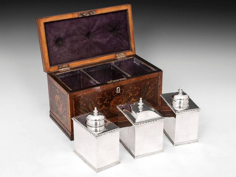 18th Century and Earlier Antique Georgian Harewood Silver Tea Chest Tea Caddy For Sale