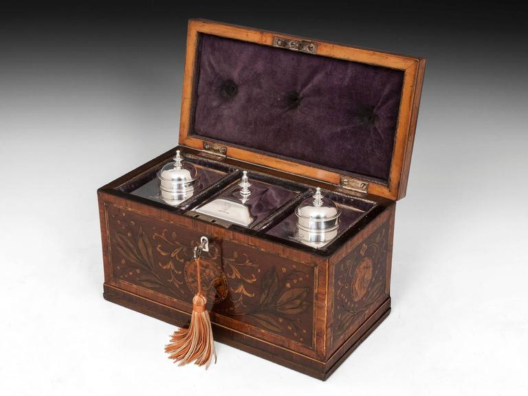 Antique Georgian Harewood Silver Tea Chest Tea Caddy For Sale 4