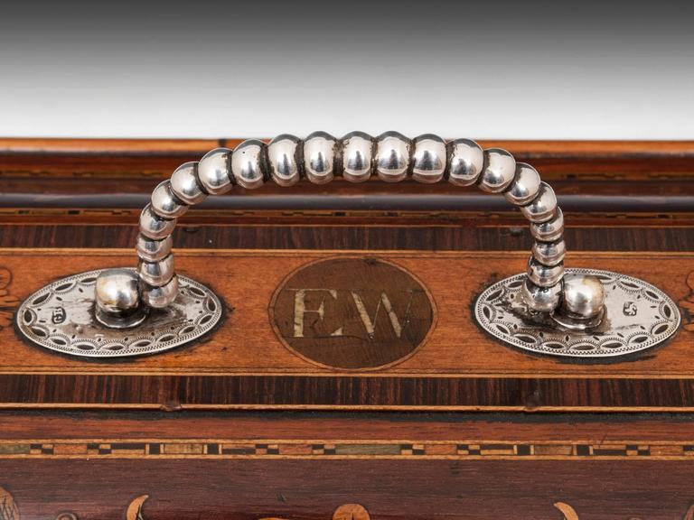Antique Georgian Harewood Silver Tea Chest Tea Caddy For Sale 2
