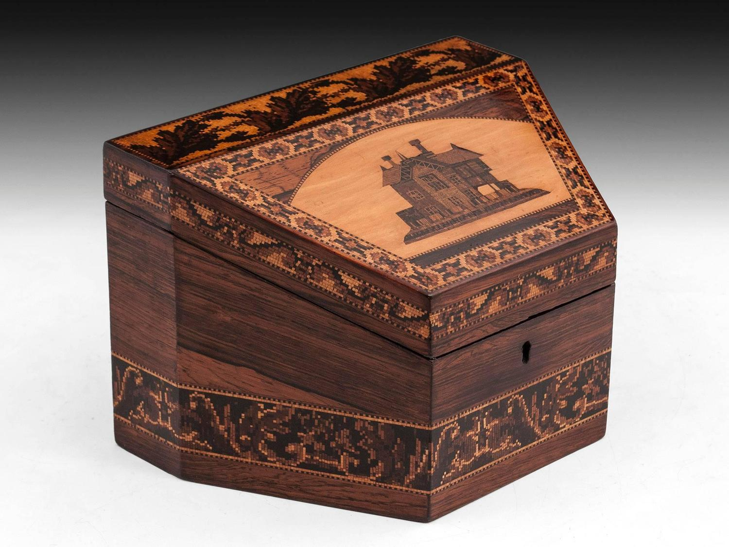 Tunbridge ware stationery box for sale at stdibs