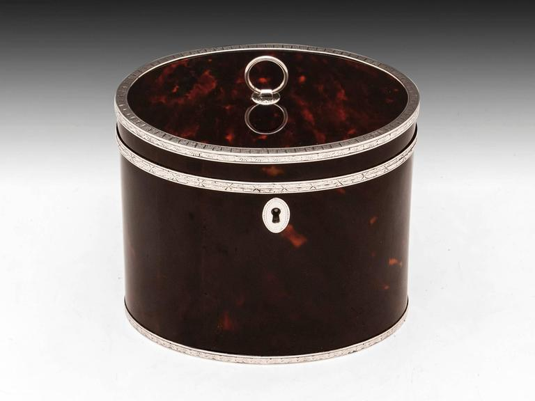 Rare Antique Red Tortoiseshell and Silver Oval Tea Caddy 3