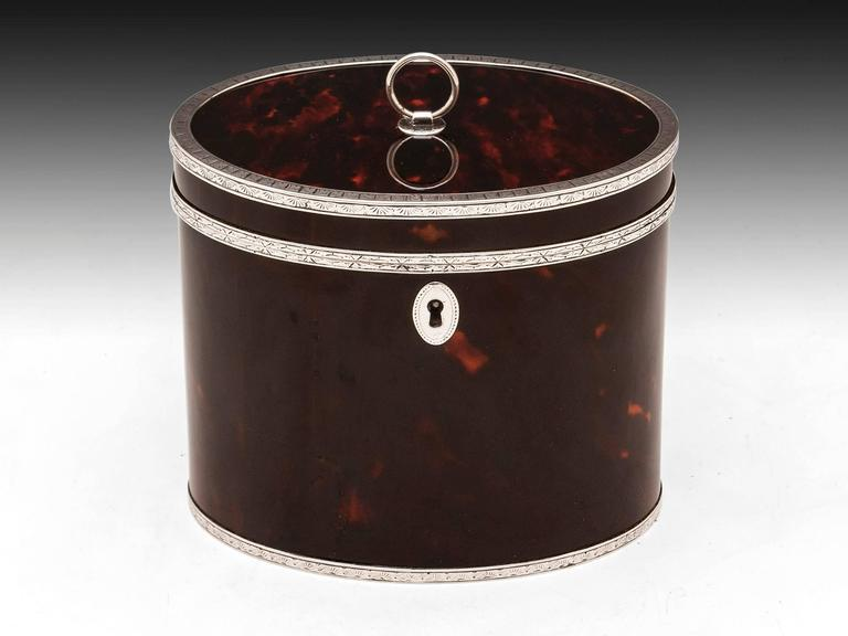 Rare Antique Red Tortoiseshell and Silver Oval Tea Caddy 2