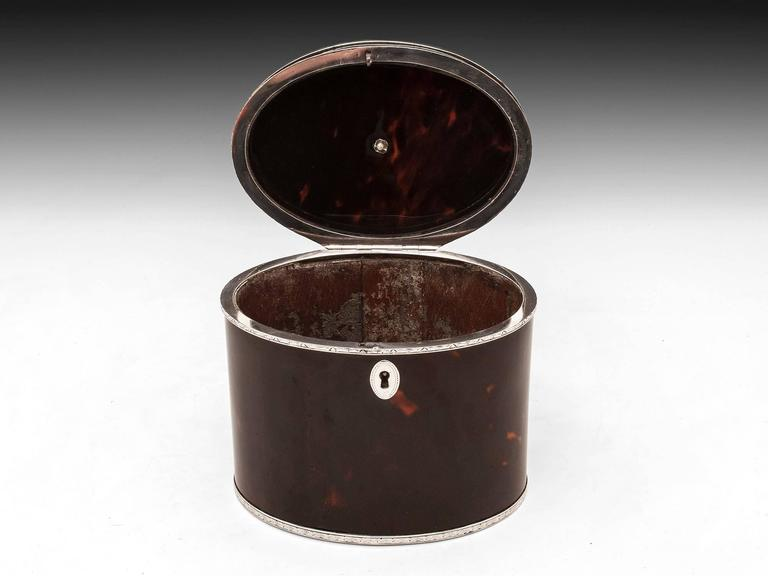 Rare Antique Red Tortoiseshell and Silver Oval Tea Caddy 6