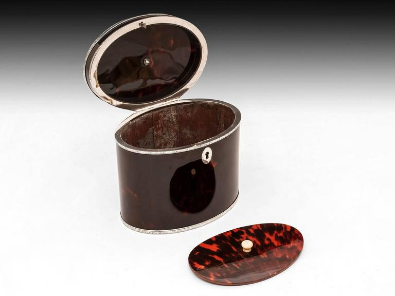 Rare Antique Red Tortoiseshell and Silver Oval Tea Caddy 8