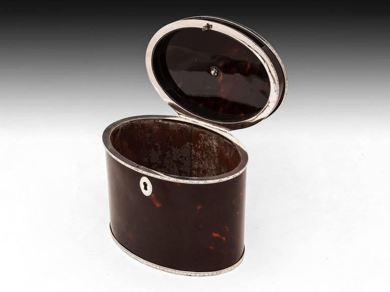 Rare Antique Red Tortoiseshell and Silver Oval Tea Caddy 7