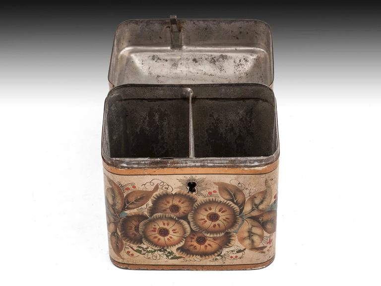 Georgian Painted Tin Toleware Tea Caddy For Sale 1