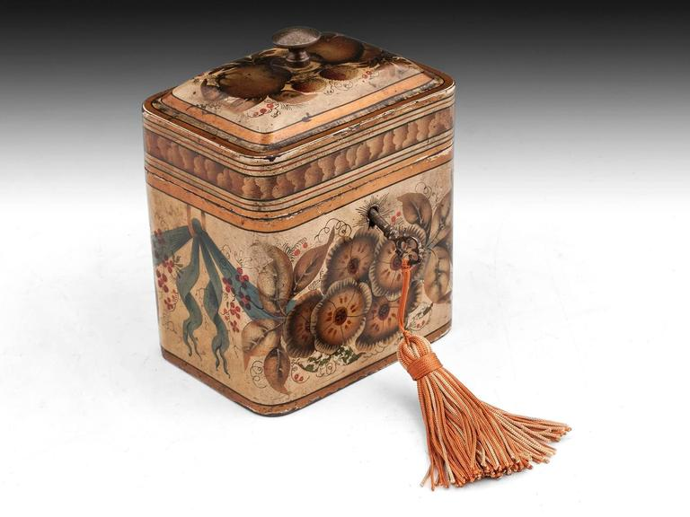 Georgian Painted Tin Toleware Tea Caddy 9