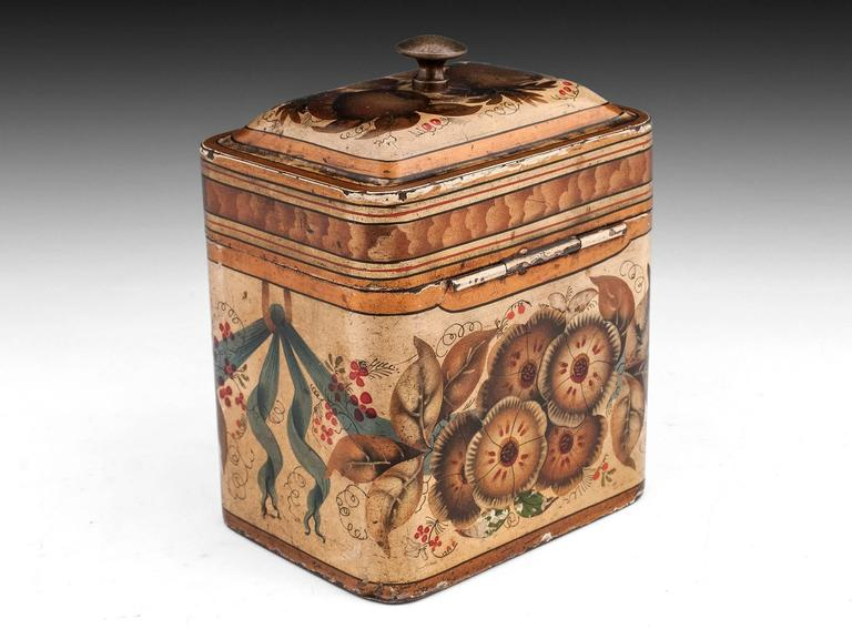 Georgian Painted Tin Toleware Tea Caddy 4