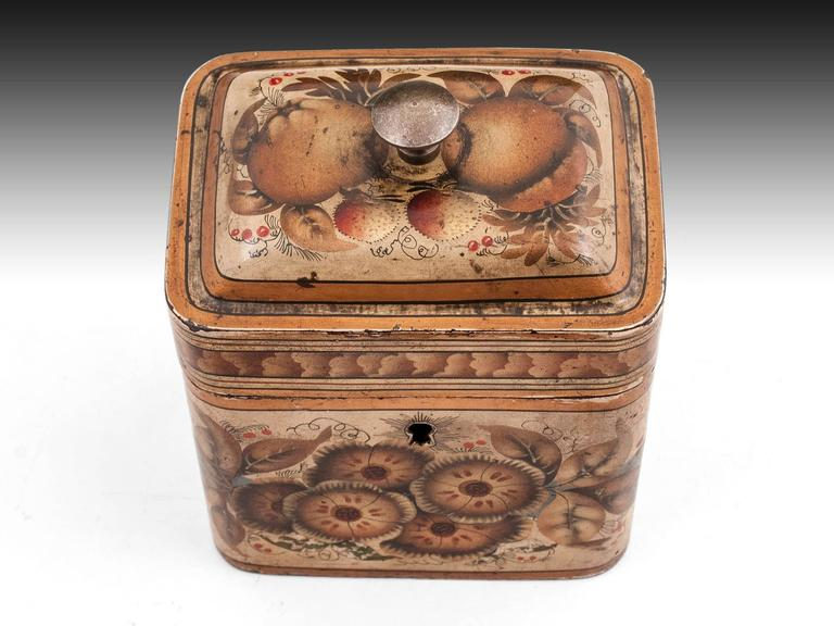 Georgian Painted Tin Toleware Tea Caddy 2