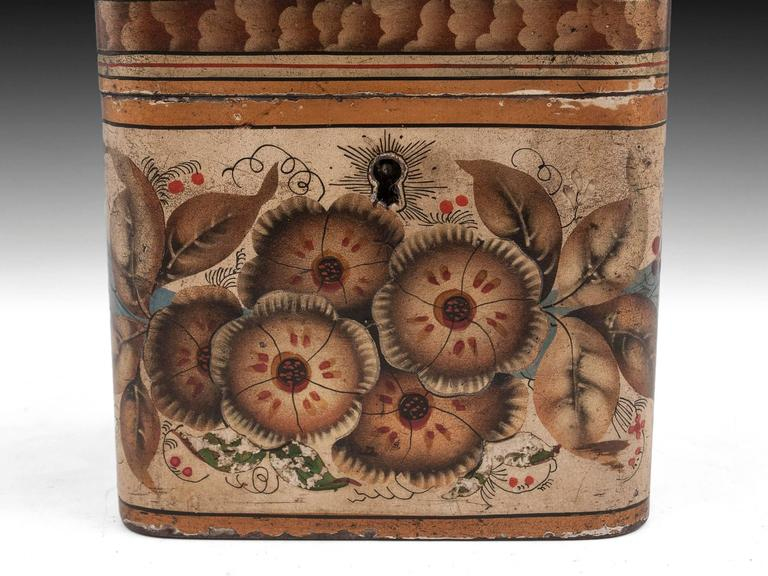 Georgian Painted Tin Toleware Tea Caddy 5