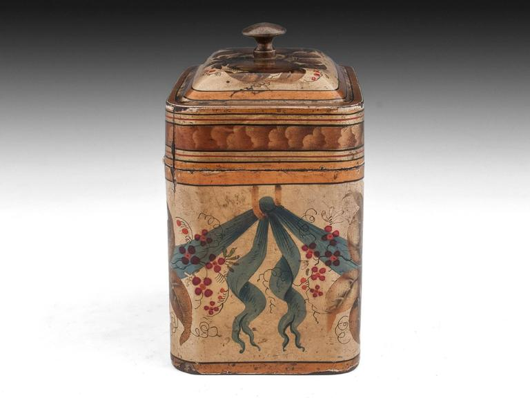Georgian Painted Tin Toleware Tea Caddy 6