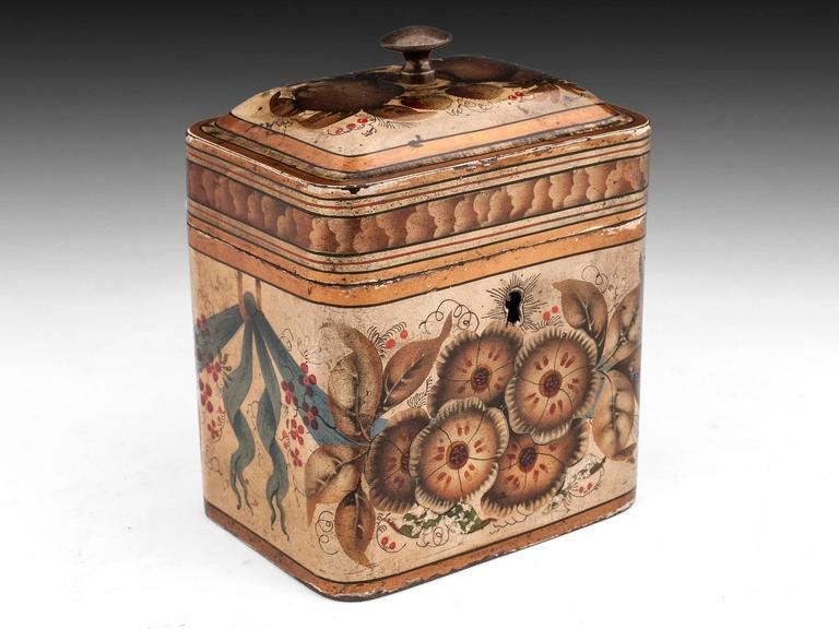 Georgian Painted Tin Toleware Tea Caddy 3