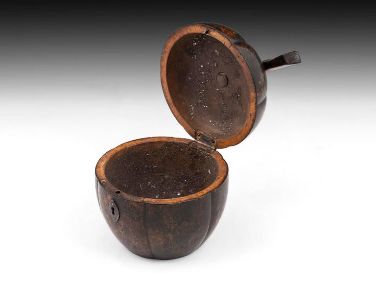 19th Century Rare Antique Treen Squash Pumpkin Fruit Tea Caddy For Sale