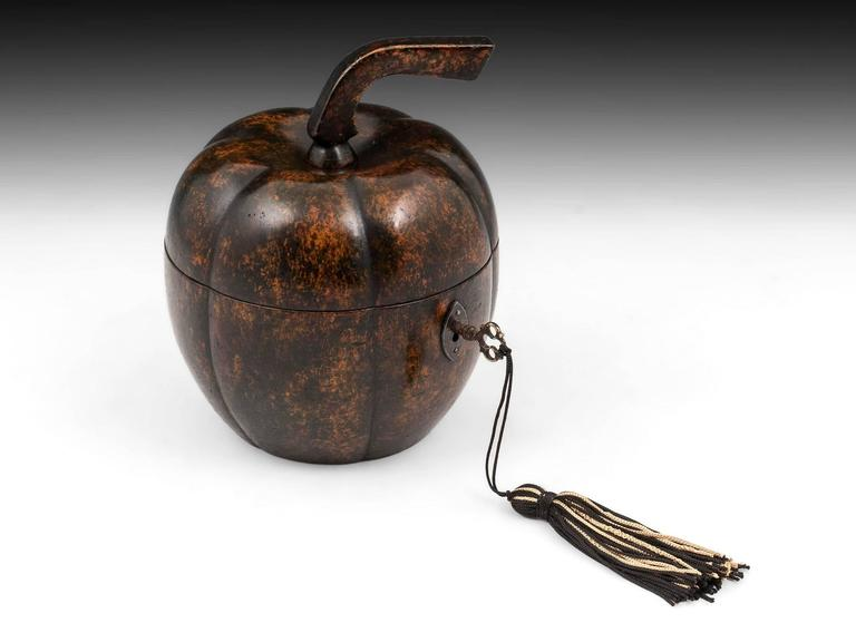 Rare Antique Treen Squash Pumpkin Fruit Tea Caddy For Sale 2