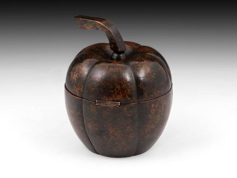 German Rare Antique Treen Squash Pumpkin Fruit Tea Caddy For Sale