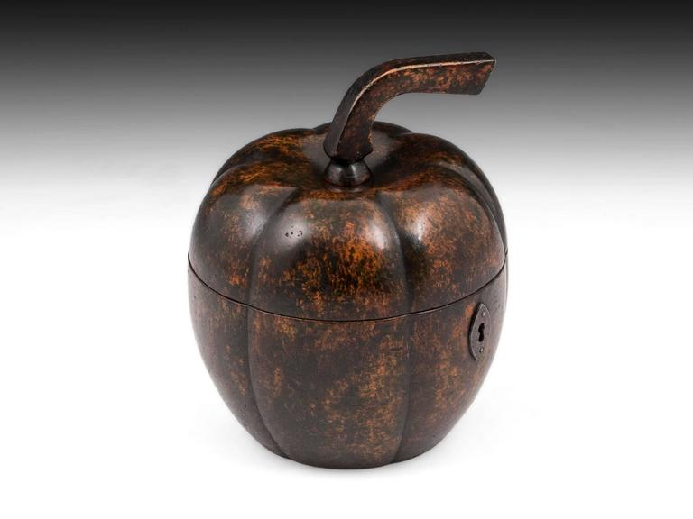 Georgian Rare Antique Treen Squash Pumpkin Fruit Tea Caddy For Sale