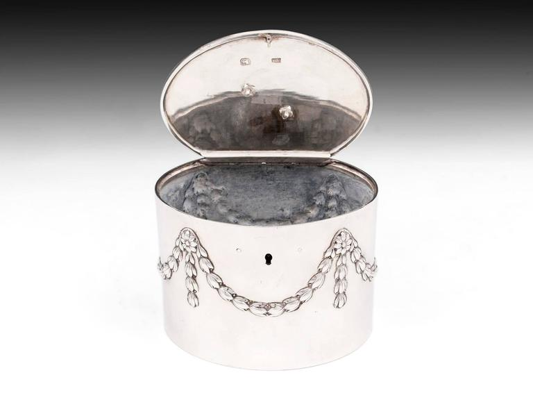Antique Georgian Sterling Silver Tea Caddy by William Vincent For Sale 1