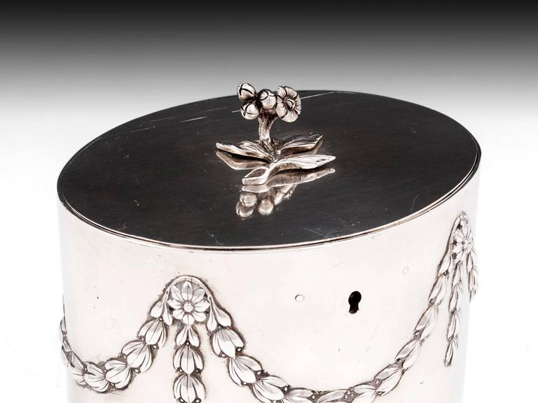 18th Century and Earlier Antique Georgian Sterling Silver Tea Caddy by William Vincent For Sale