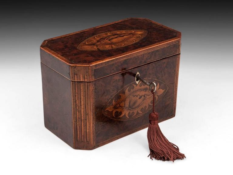Antique Georgian Burr Yew Tea Caddy For Sale 2