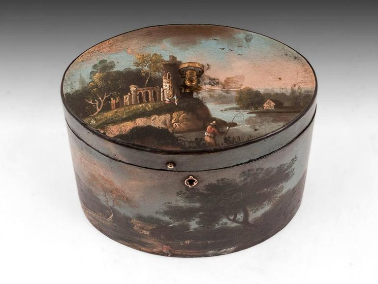 Georgian Henry Clay Papier Mache Painted Oval Tea Caddy For Sale