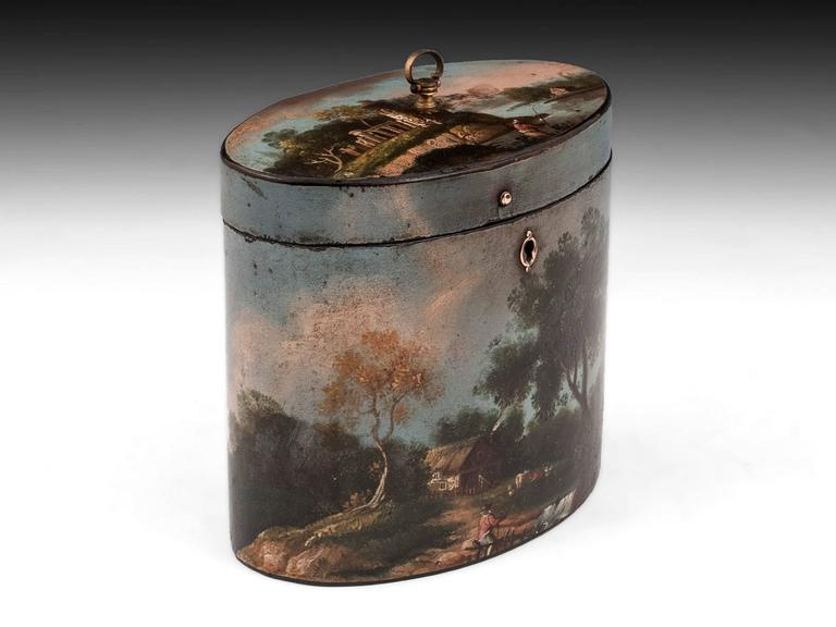 Great Britain (UK) Henry Clay Papier Mache Painted Oval Tea Caddy For Sale