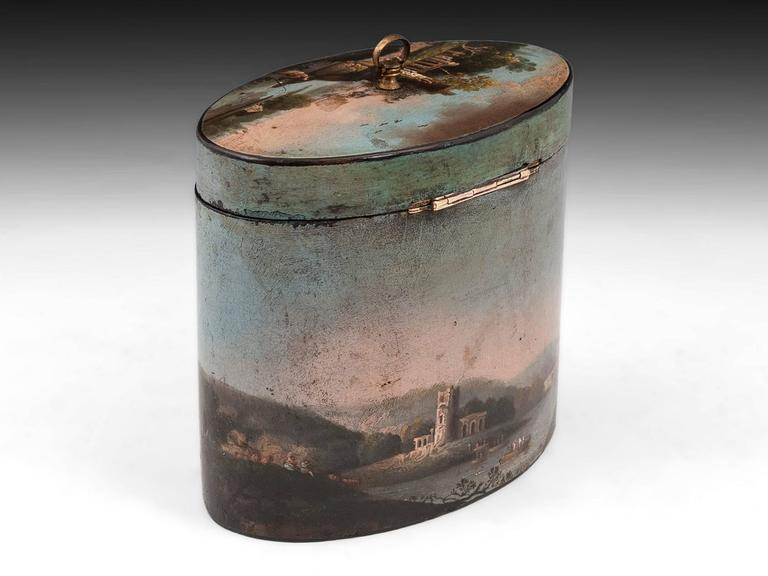 Henry Clay Papier Mache Painted Oval Tea Caddy In Excellent Condition For Sale In Northampton, GB