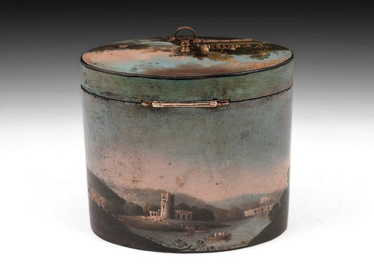 18th Century and Earlier Henry Clay Papier Mache Painted Oval Tea Caddy For Sale