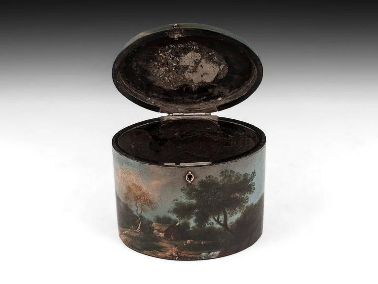 Henry Clay Papier Mache Painted Oval Tea Caddy For Sale 1