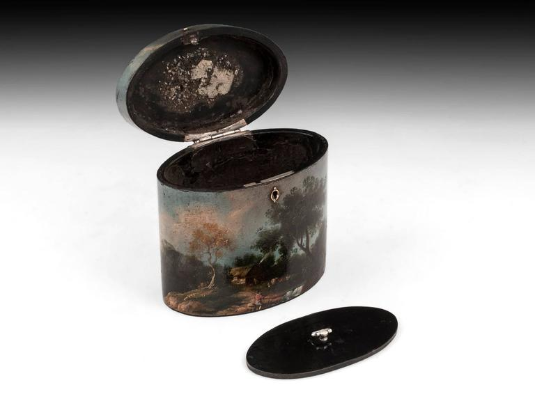 Henry Clay Papier Mache Painted Oval Tea Caddy For Sale 2
