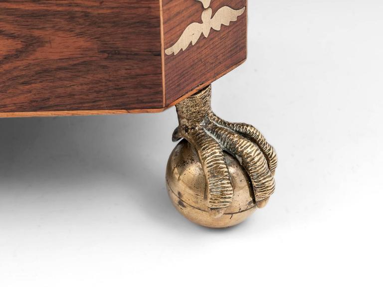 19th Century Kingwood and Brass Pagoda Top Regency Tea Chest Tea Caddy For Sale
