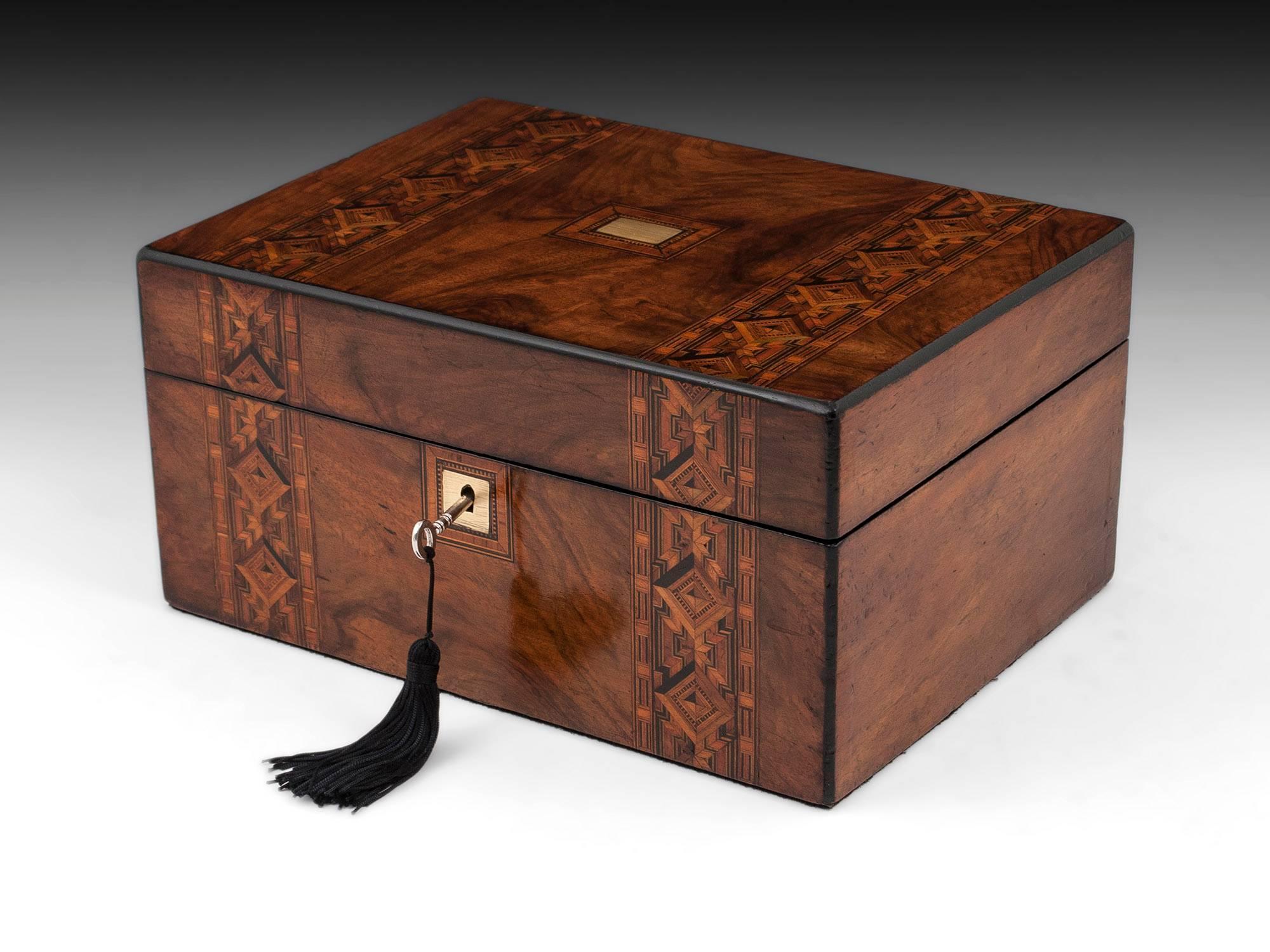 Tunbridge Style Victorian Walnut Jewelry Box at 1stdibs