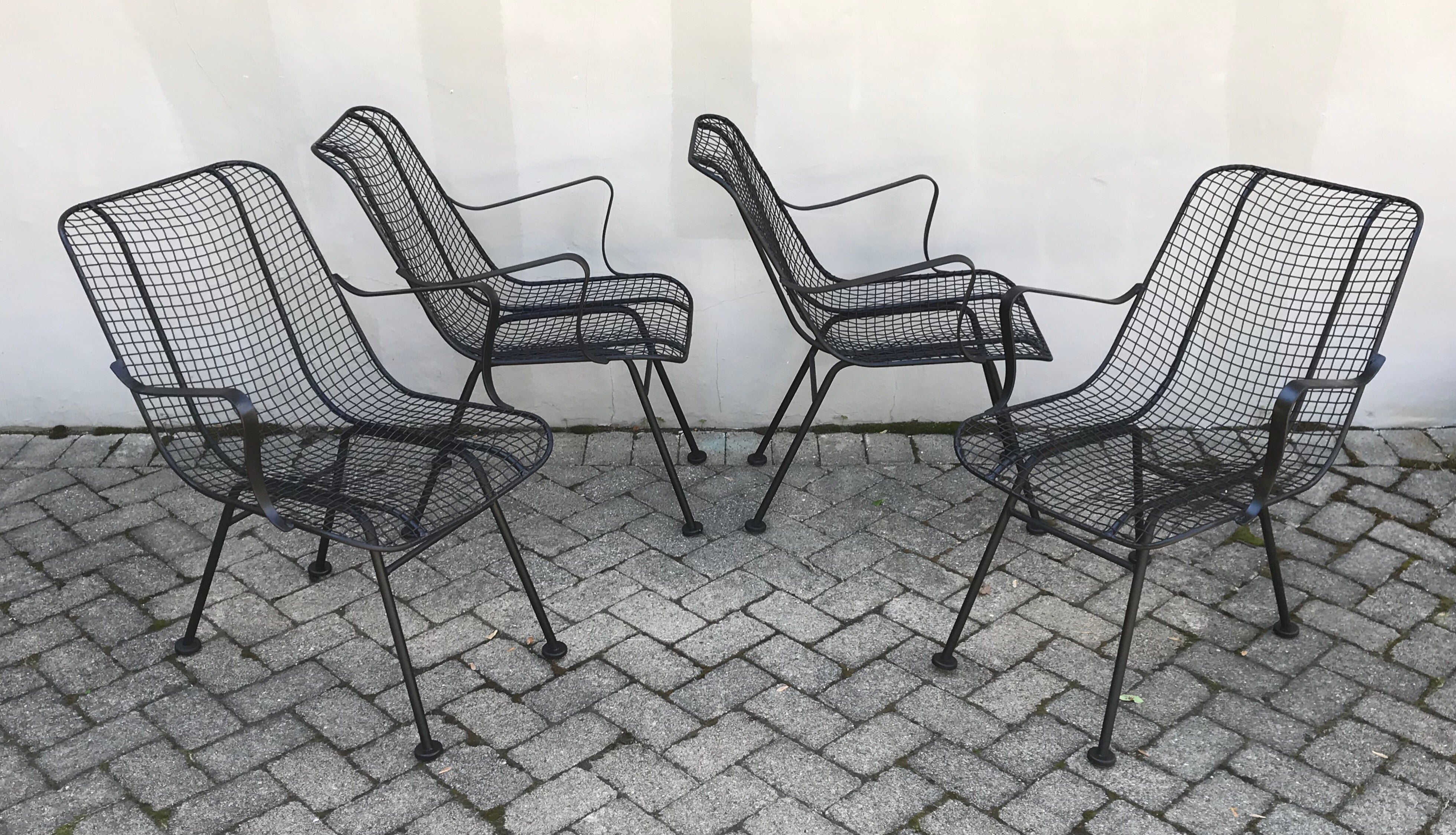 Enjoyable Set Of Four Mid Century Woodward Wrought Iron Patio Lounge Chairs Evergreenethics Interior Chair Design Evergreenethicsorg