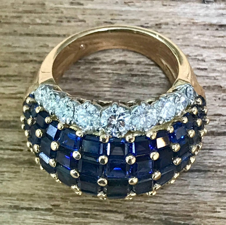 Exceptional American sapphire and diamond ring mounted in 18-karat gold and platinum by Oscar Heyman Brothers, circa 1960. Hallmarked and numbered HB36709. Size 6.5.