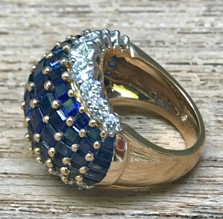 Modern Oscar Heyman American Sapphire and Diamond Ring Mounted in 18-Karat Gold For Sale