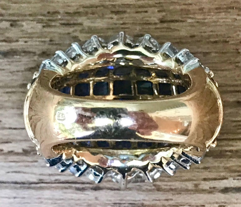 Oscar Heyman American Sapphire and Diamond Ring Mounted in 18-Karat Gold In Good Condition For Sale In Bedford Hills, NY