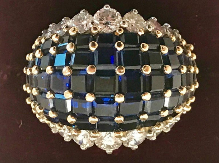Mid-20th Century Oscar Heyman American Sapphire and Diamond Ring Mounted in 18-Karat Gold For Sale