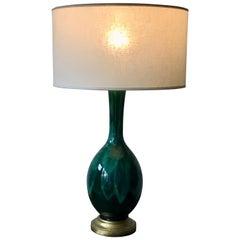 Pair of Mid-Century Modern Green Drip Glaze Ceramic Table Lamps, 1960s